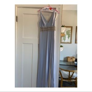 Simple blue prom dress with slit